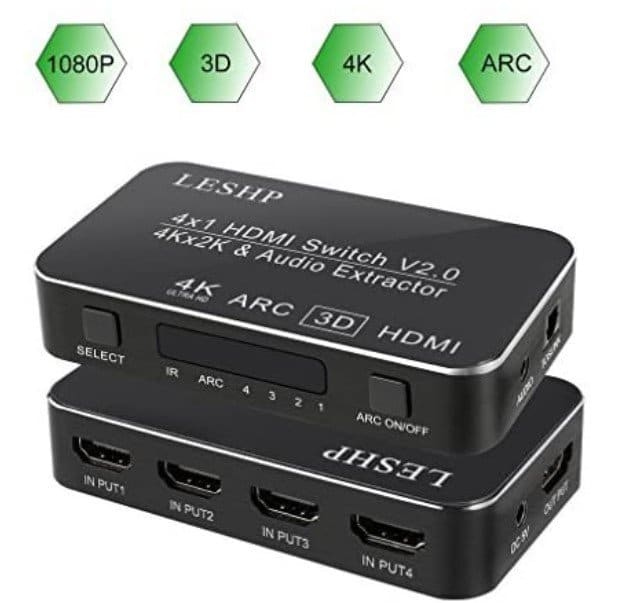 LESHP-4×1-HDMI-Switch-with-Audio-Optical-TOSLINK-Out-4k
